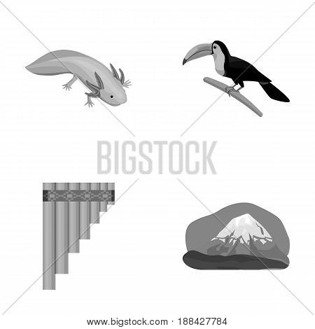 Sampono Mexican musical instrument, a bird with a long beak, Orizaba is the highest mountain in Mexico, axolotl is a rare animal. Mexico country set collection icons in monochrome style vector symbol stock illustration .
