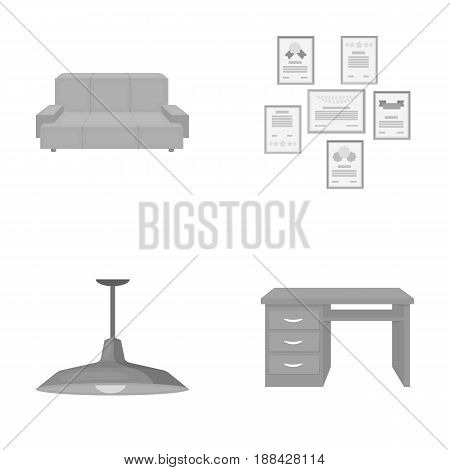 Comfortable sofa, letters and diplomas within the framework, an office ceiling lamp, a desk with drawers. Office Furniture set collection icons in monochrome style vector symbol stock illustration .