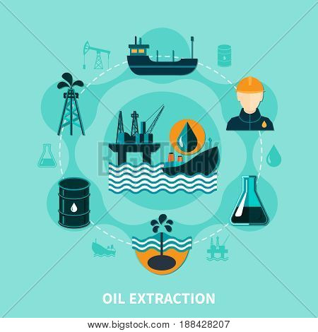 Oil industry flat composition with off-shore petroleum production icons and silhouette images with human character vector illustration