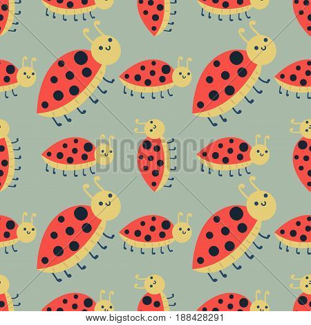 Cute ladybug cartoon red insect nature bug isolated beetle hand drawn seamless pattern vector illustration. Natural small icon wildlife graphic character macro detail garden animal.