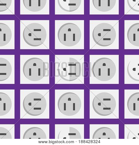 Electric outlet illustration energy socket electrical plug european appliance interior vector seamless pattern. Wire cable cord connection electrical double american wattage consumption.