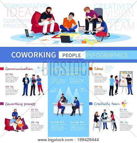Coworking and communication creative ideas for shared working environment with flexible workspace flat infographic poster vector illustration