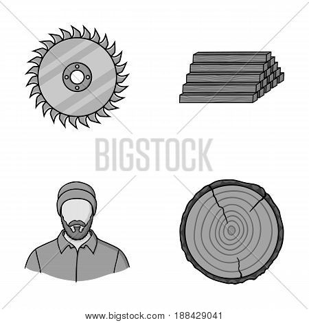 Circular saw, a working carpenter, a stack of logs. A sawmill and timber set collection icons in monochrome style vector symbol stock illustration .