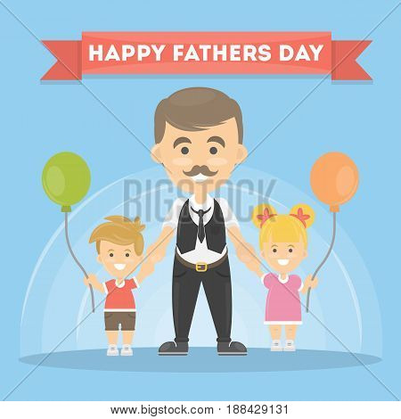 Happy fathers day greeting card and banner.