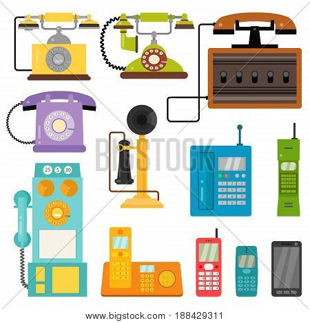 Vector vintage phones retro lod telephone call number connection device technology receiver classic communication illustration. Antique line rotary office telephonic connect