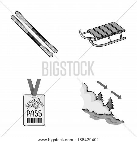 Ski, sled, lifeguard badge, badge avalanche. Ski resort set collection icons in monochrome style vector symbol stock illustration .