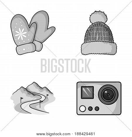 Mittens, warm hat, ski piste, motion camera. Ski resort set collection icons in monochrome style vector symbol stock illustration .