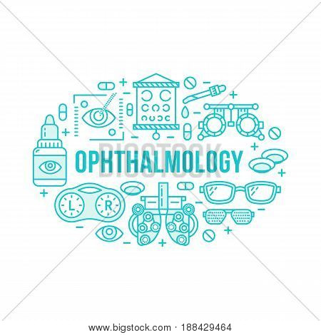 Ophthalmology, medical banner illustration. Eyes health care vector line icons of optometry equipment, contact lenses, glasses. Healthcare brochure, poster design. Blue isolated on white background.