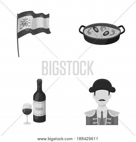 Flag with the coat of arms of Spain, a national dish with rice and tomatoes, a bottle of wine with a glass, a bullfighter, a matador. Spain country set collection icons in monochrome style vector symbol stock illustration .