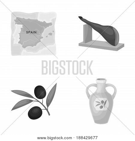 Map of Spain, jamon national dish, olives on a branch, olive oil in a bottle. Spain country set collection icons in monochrome style vector symbol stock illustration .