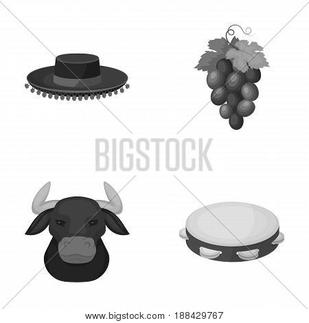 The hat of the todeador, the matador, a bunch of grapes with fists, a bull for the Spanish bullfight, a tambourine. Spain country set collection icons in monochrome style vector symbol stock illustration .