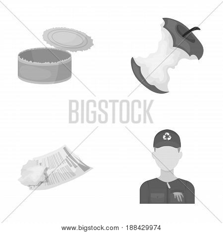 Can used used pot, apple stub, old dirty and wrinkled newspaper, the man who takes out the garbage.Garbage and trash set collection icons in monochrome style vector symbol stock illustration .