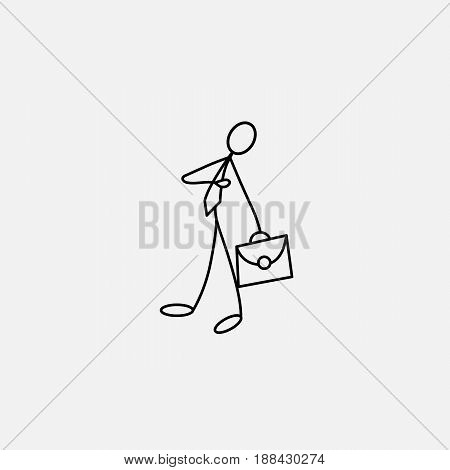 Cartoon icon of sketch stick figure vector business man with suitcase