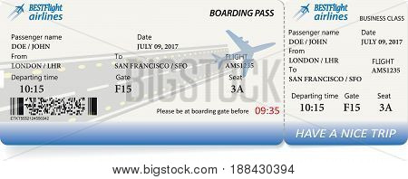 Boarding pass ticket in blue colors. Vector template