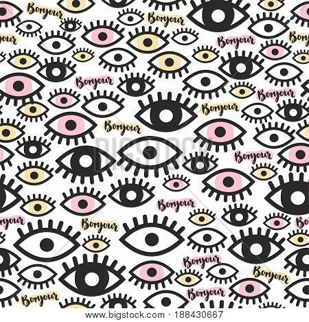 Seamless pattern. The eye and the hand inscription