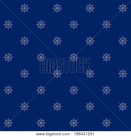 White Ship's Wheel on Blue Background Seamless Sea Travel Pattern Line Style Design Vector Illustration
