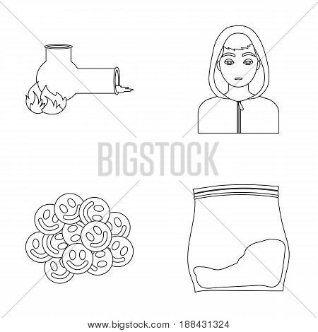 Vong, drug addict, package with marijuana, ecstasy. Drugs set collection icons in outline style vector symbol stock illustration .