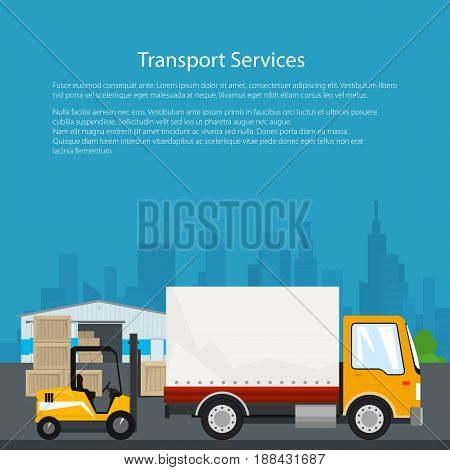 Warehouse and Transportation Services Warehouse with Forklift Truck and Lorry on the Background of the City Unloading or Loading of Goods Flyer Brochure Poster Design Vector Illustration