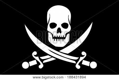 vector skull with crossed bones illustration on black