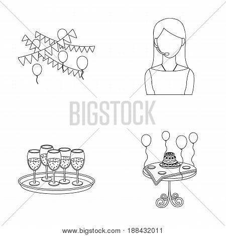 Garland with flags and balls, leading celebration with a microphone, a tray with glasses with champagne, a table covered with a tablecloth with plates, cake and balls. Event services set collection icons in outline style vector symbol stock illustration .
