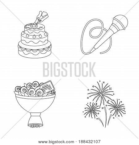 Hand making a cake with cream, a microphone with a cord, a bouquet of roses with a greeting card, a festive salute. Event services set collection icons in outline style vector symbol stock illustration .
