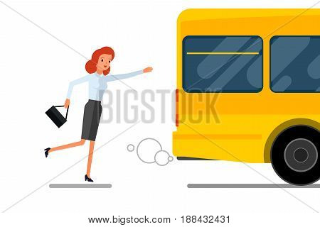 Concept of lateness. Business woman is running after outgoing bus. Flat design, vector illustration.