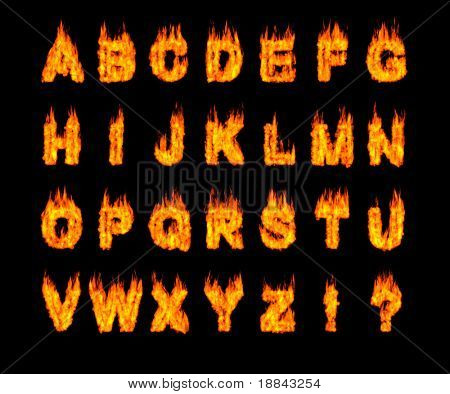 Set of burning Latin alphabet letters. Artistic font. Digital illustration isolated on black background.