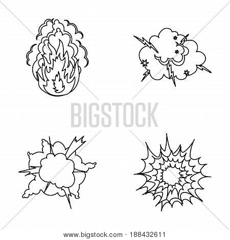 Flame, sparks, hydrogen fragments, atomic or gas explosion, thunderstorm, solar explosion. Explosions set collection icons in outline style vector symbol stock illustration .