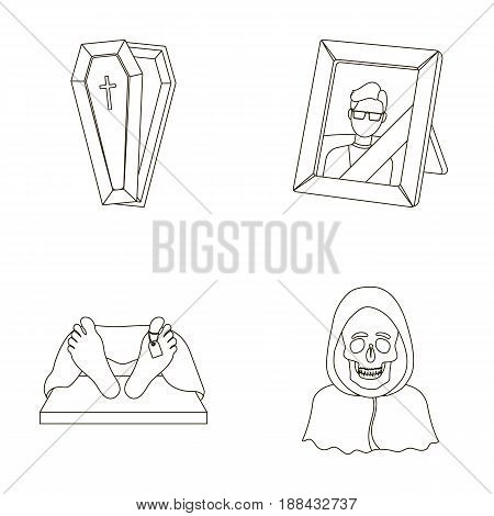 Coffin with a lid and a cross, a photograph of the deceased with a mourning ribbon, a corpse on the table with a tag in the morgue, death in a hood. Funeral ceremony set collection icons in outline style vector symbol stock illustration .