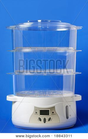 Multi-Tier Food Steamer isolated on blue background