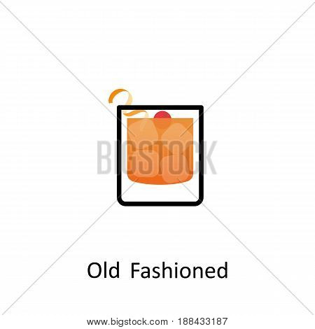 Old Fashioned cocktail icon in flat style. Vector illustration