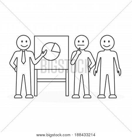 Business presentation concept. Presenter with chart board. Line art.