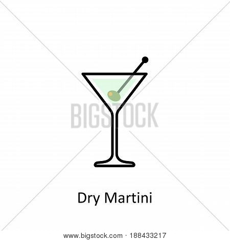 Dry Martini cocktail icon in flat style. Vector illustration