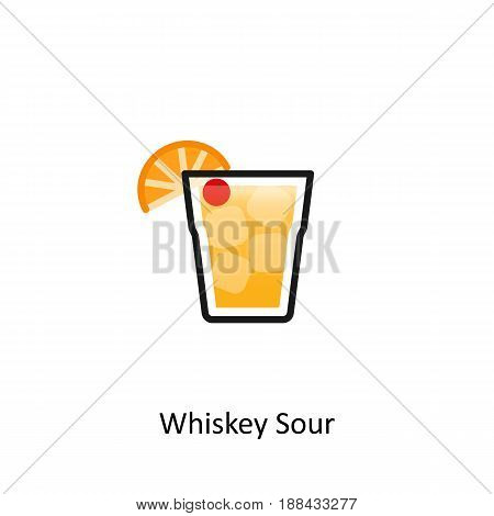 Whisky Sour cocktail icon in flat style. Vector illustration