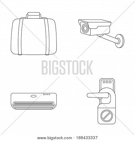 Luggage, surveillance camera, air conditioning, do not disturb the sign.Hotel set collection icons in outline style vector symbol stock illustration .