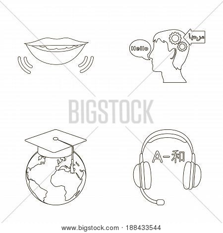The mouth of the person speaking, the person's head translating the text, the globe with the master's cap, the headphones with the translation. Interpreter and translator set collection icons in outline style vector symbol stock illustration .