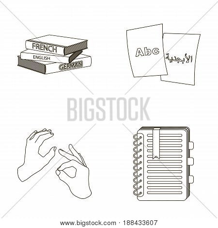 A pile of books in different languages, sheets of paper with translation, a gesture of deaf mutes, a notebook with text. Interpreter and translator set collection icons in outline style vector symbol stock illustration .