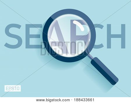 Search loupe icon in flat style, magnifying glass on color background. Vector design object for you project
