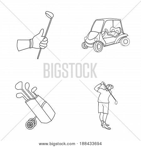 A gloved hand with a stick, a golf cart, a trolley bag with sticks in a bag, a man hammering with a stick. Golf Club set collection icons in outline style vector symbol stock illustration .