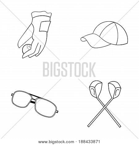 A glove for playing golf with a ball, a red cap, sunglasses, two clubs. Golf Club set collection icons in outline style vector symbol stock illustration .