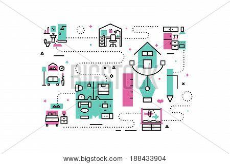 Home Interior Line Icons Illustration