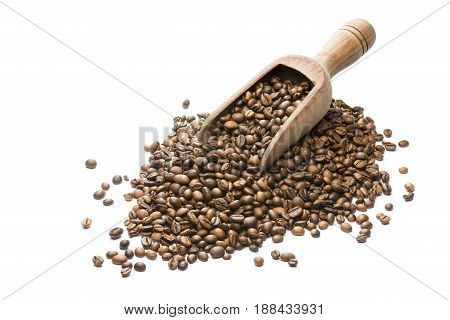 bunch of coffee beans with wooden scoop on white background