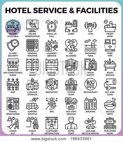 Hotel Service & Facilities concept detailed line icons set in modern line icon style concept for ui ux web app design