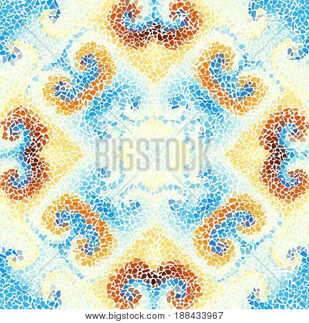 Seamless background pattern. Decorative symmetric mosaic pattern. Gamma of pastel colors.