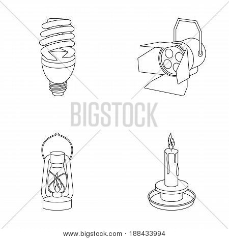 Economy lamp, searchlight, kerosene lamp, candle.Light source set collection icons in outline style vector symbol stock illustration .