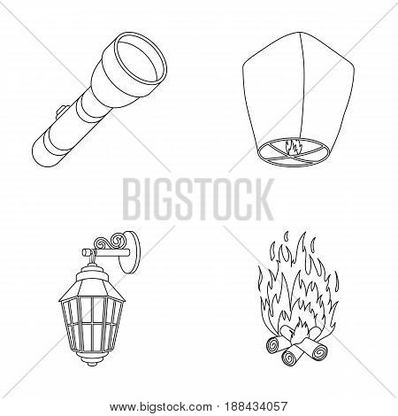 A flashlight, an air lantern, a lantern on the wall, a bonfire.Light source set collection icons in outline style vector symbol stock illustration .