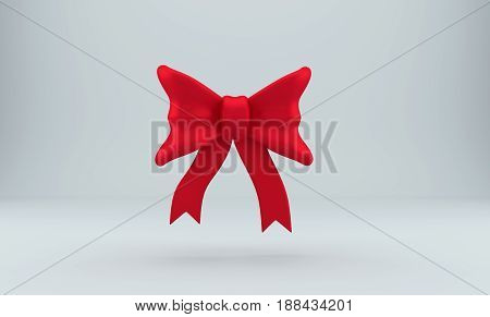 Dark 3d red bow over gray background. Holiday ribbon. Silk decoration element. 3D rendering.