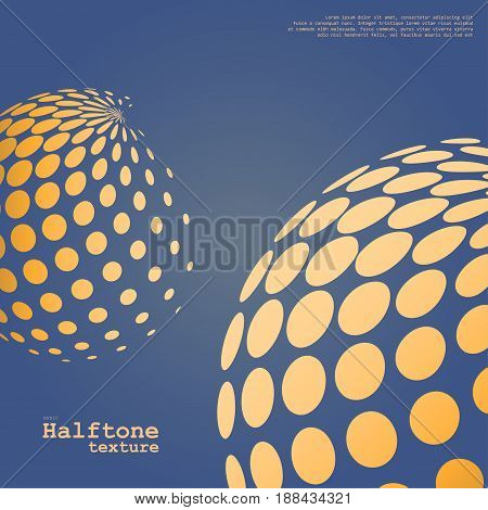 Abstract background of the halftone spheres in orange color on complement color background and with example of text, created for business advertising, presentation, logo, web