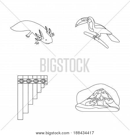 Sampono Mexican musical instrument, a bird with a long beak, Orizaba is the highest mountain in Mexico, axolotl is a rare animal. Mexico country set collection icons in outline style vector symbol stock illustration .