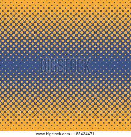 Halftone abstract background of circular elements in orange and complement colors and in the direction from the sides to the center vertically